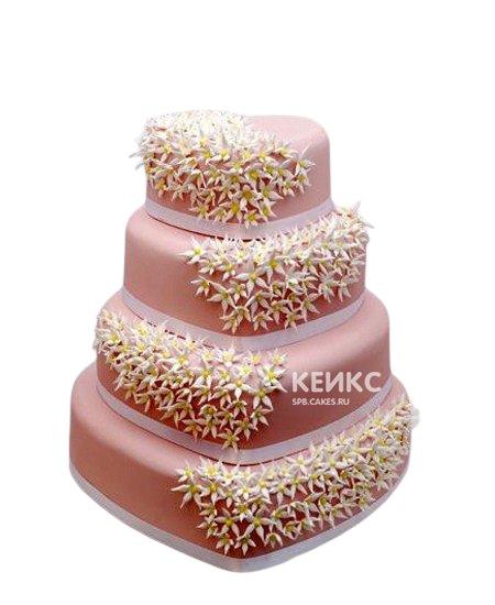 Свадебный торт сердце в розовых тонах с мелкими цветочками