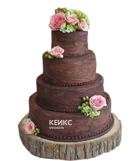 Шоколадный свадебный торт с розовыми цветами
