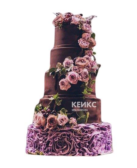 Шоколадный свадебный торт шоколадный с розовыми цветами