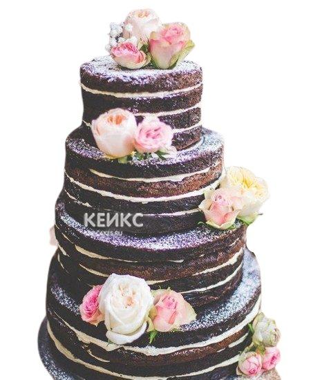 Шоколадный свадебный торт с цветами