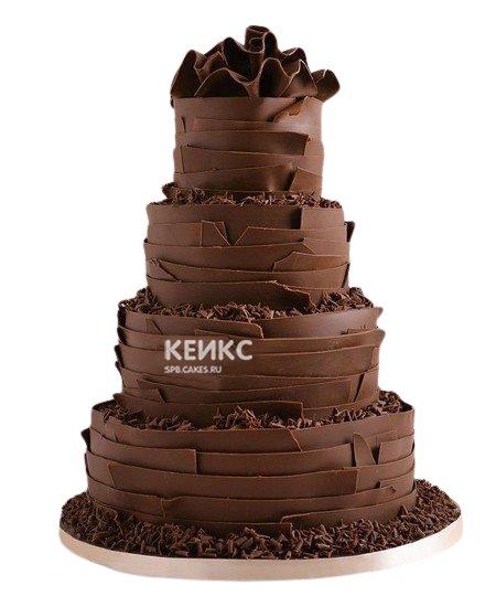 Четырехъярусный шоколадный свадебный торт
