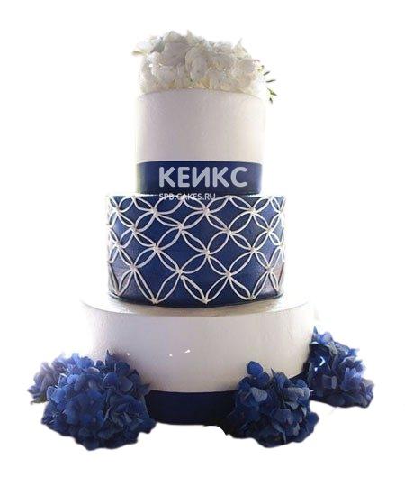 Свадебный бело-синий торт с гортензиями