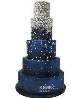 Свадебный торт синий 12