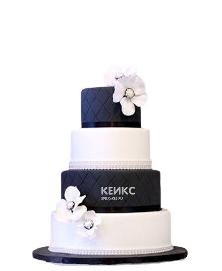 Свадебный торт бело-синего цвета