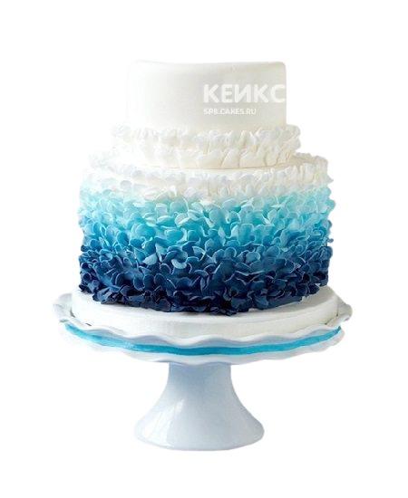 Двухъярусный бело-синий свадебный торт