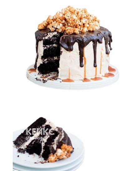 Белый торт с шоколадной глазурью и  попкорном для брата