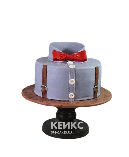 Торт брату с красным галстуком-бабочкой