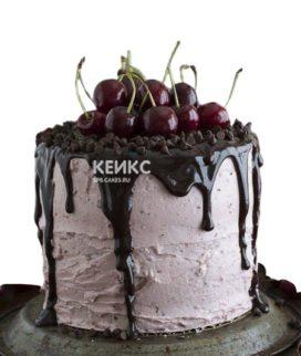 Торт брату розовый с вишнями