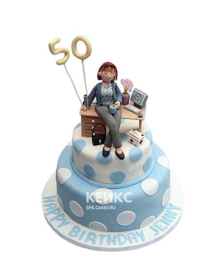 Торт бухгалтеру бело-голубой в горошек с фигуркой