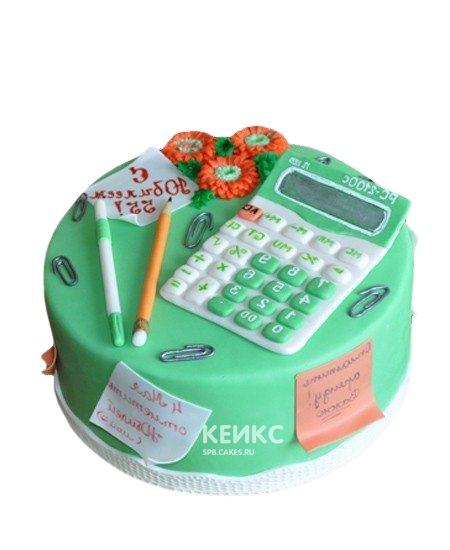 Торт бухгалтеру зеленый с калькулятором