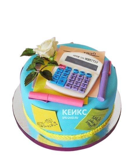 Торт синего цвета бухгалтеру с калькулятором и цветком