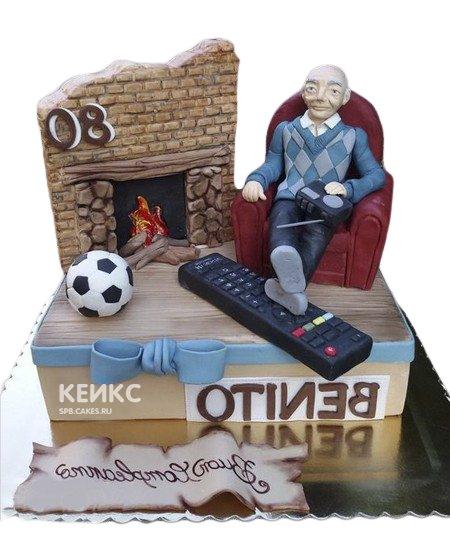 Праздничный торт в виде комнаты с камином для дедушки
