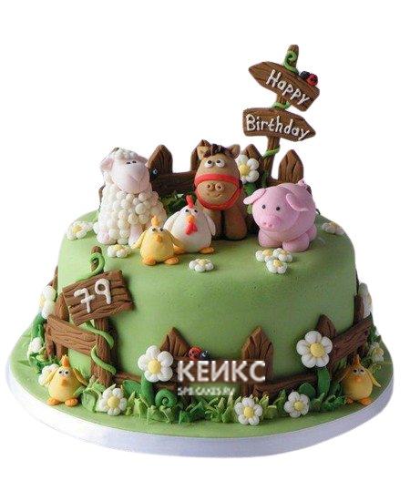 Торт Поляна  фигурками домашних животных для девочки