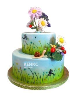 Красочный торт Поляна девочке с ромашками и земляникой