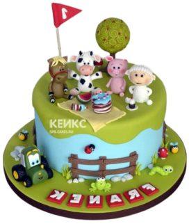 Торт Поляна на годик девочке с фигурками животных
