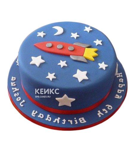 Торт красная ракета с луной и звездами