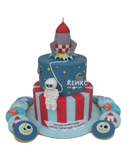 Торт ракета с космонавтом