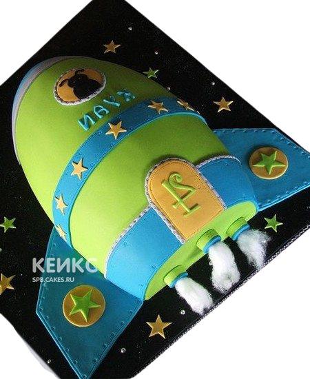 Торт в виде зелено-синей ракеты