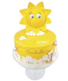 Ярко-желтый торт Солнышко с цифрой для девочки