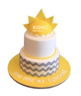 Детский торт Солнышко с зигзагами для мальчика