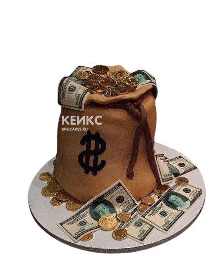 Торт директору в виде мешка с деньгами