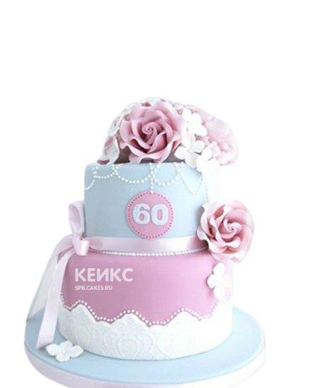 Розово-голубой торт с цветами на день рождения бабушке