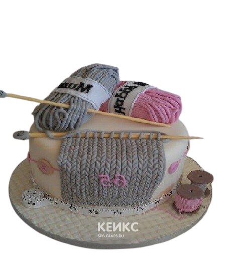 Торт с цветными нитками и спицами на день рождения бабушке