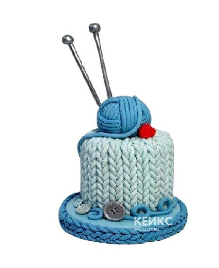 Торт с клубком и спицами на день рождения бабушке