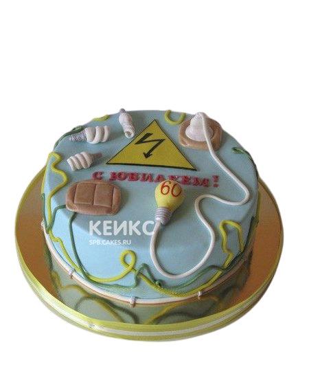 Торт для электрика с проводами и лампочками