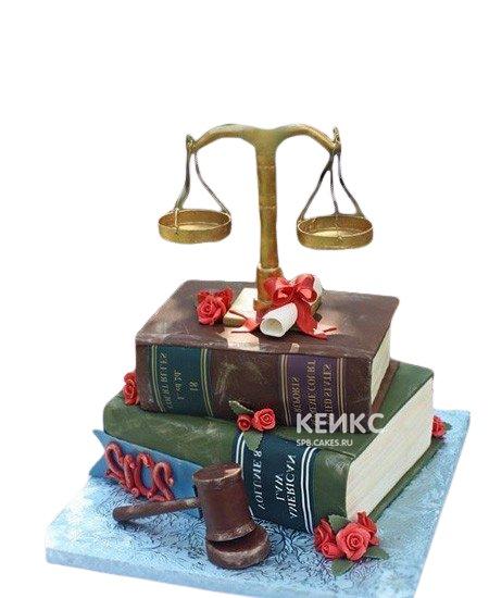 Торт для юриста книги и весы