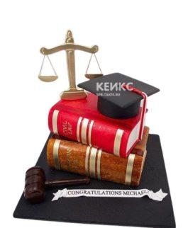 Оригинальный торт для юриста с атрибутами правосудия