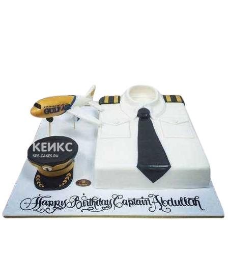 Торт для лётчика в виде белой рубашки с фуражкой и самолетом
