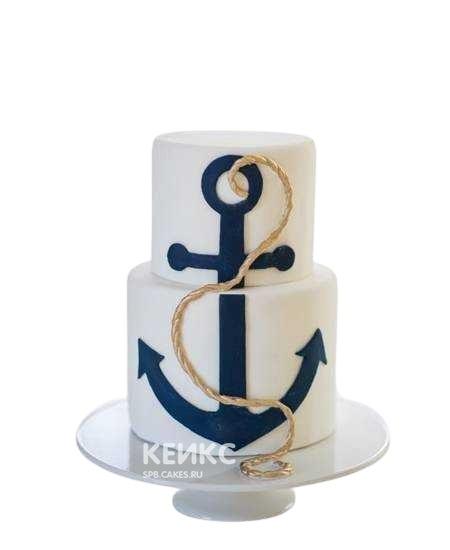 Двухъярусный белый торт с якорем для моряка