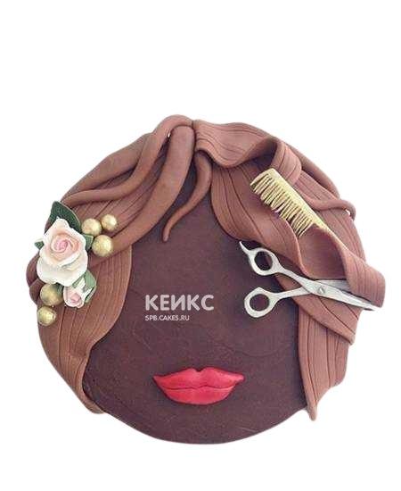 Торт для парикмахера в виде женских волос