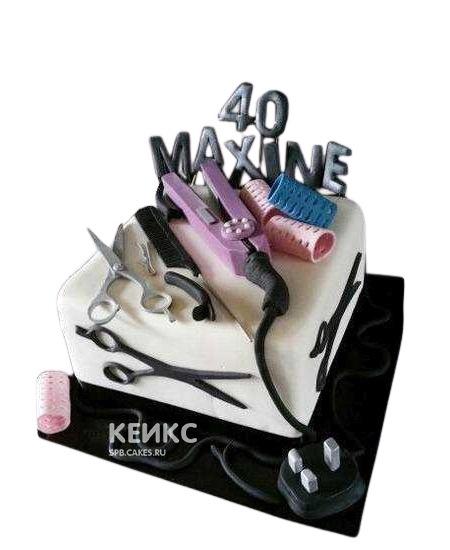 Торт для парикмахера с инструментами и надписью