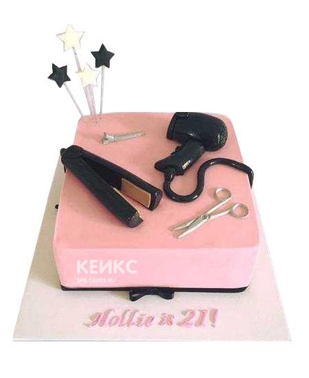 Розовый торт для парикмахера с феном и плойкой