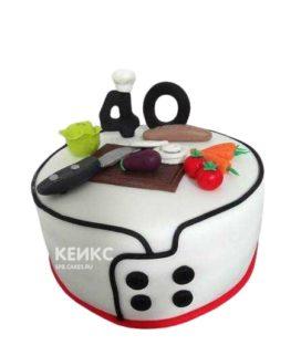 Торт для повара белый с цифрой