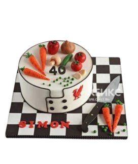 Торт для повара с ножом и овощами