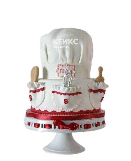 Красно-белый торт для повара с кармашками