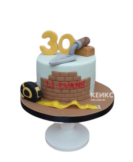 Торт для строителя с мастерком и кирпичом