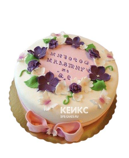 Торт для учителя с цветами и бантиком