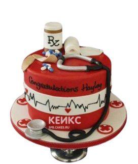Торт врачу кардиологу со стетоскопом в красном цвете