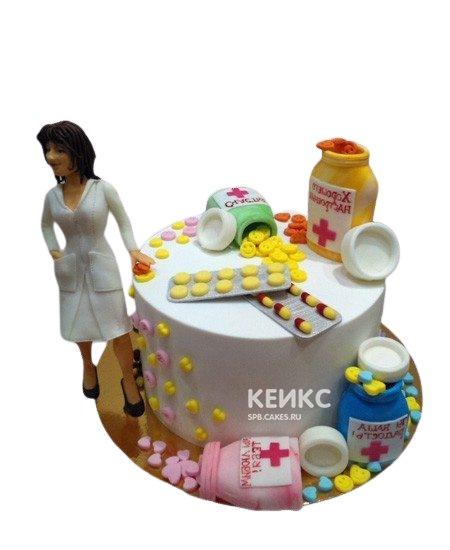 Торт для фармацевта с разноцветными таблетками