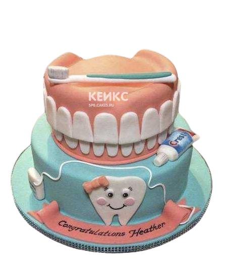 Торт для стоматолога с челюстью и зубной щеткой
