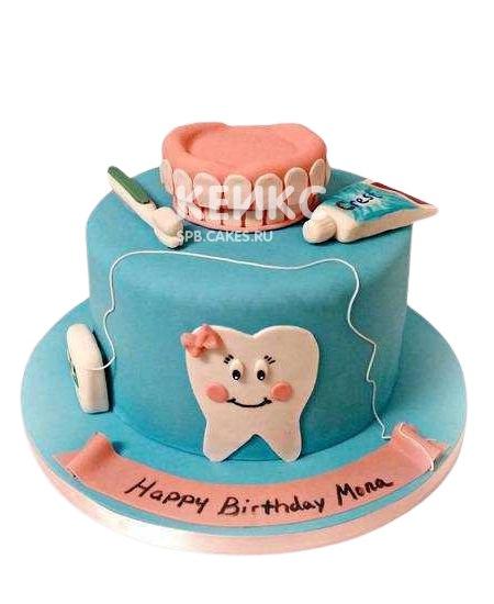Синий торт для стоматолога с челюстью