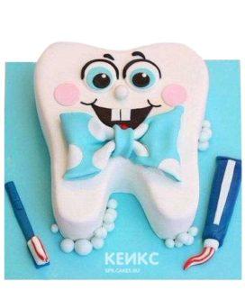 Торт для стоматолога в виде зуба с бантиком