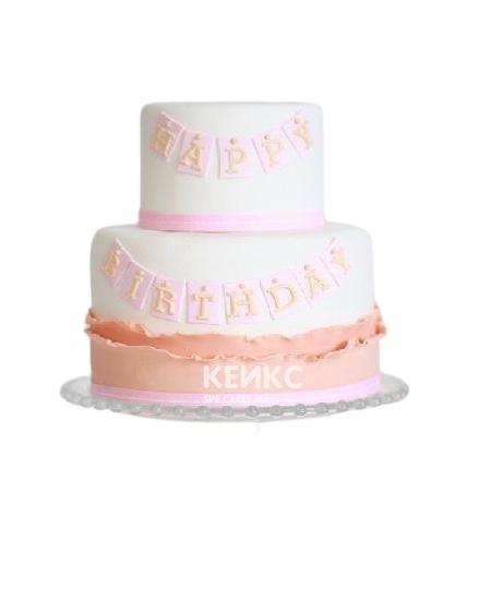 Бело-розовый торт с надписью для дочки
