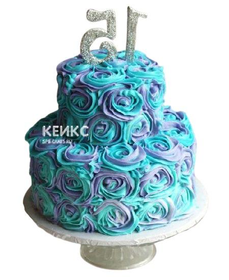 Сине-фиолетовый торт с цифрами для дочки
