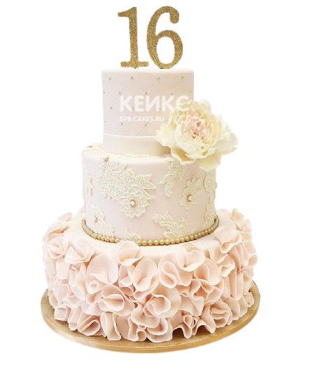 Нежно-розовый торт с кружевами и цветком для дочки