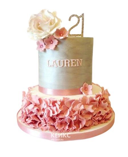 Серо-розовый торт с рюшами и цветами для дочки